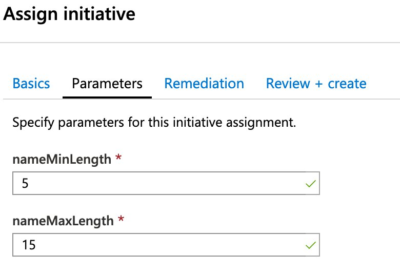 Picture of a new policy assignment with the selectable parameters we definited earlier.