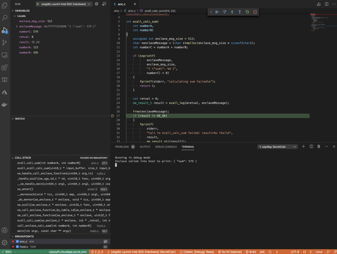 Image of the debugger working inside the SGX enclave, with Visual Studio Code.