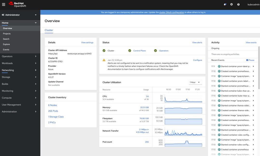 A  picture of the Azure Red Hat OpenShift administrator web console.
