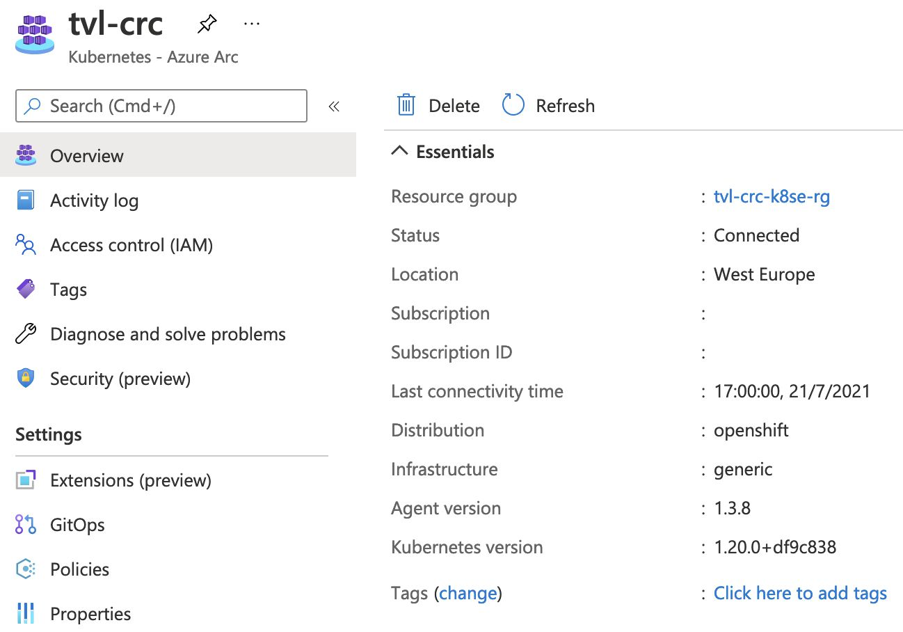Image showing the Azure Portal with information about the Kubernetes cluster we have connected via Azure Arc. It shows the last connectivity time, distribution, agent and Kubernetes version. The image also shows that we can opt-in to features like Security Center, GitOps and Policies.