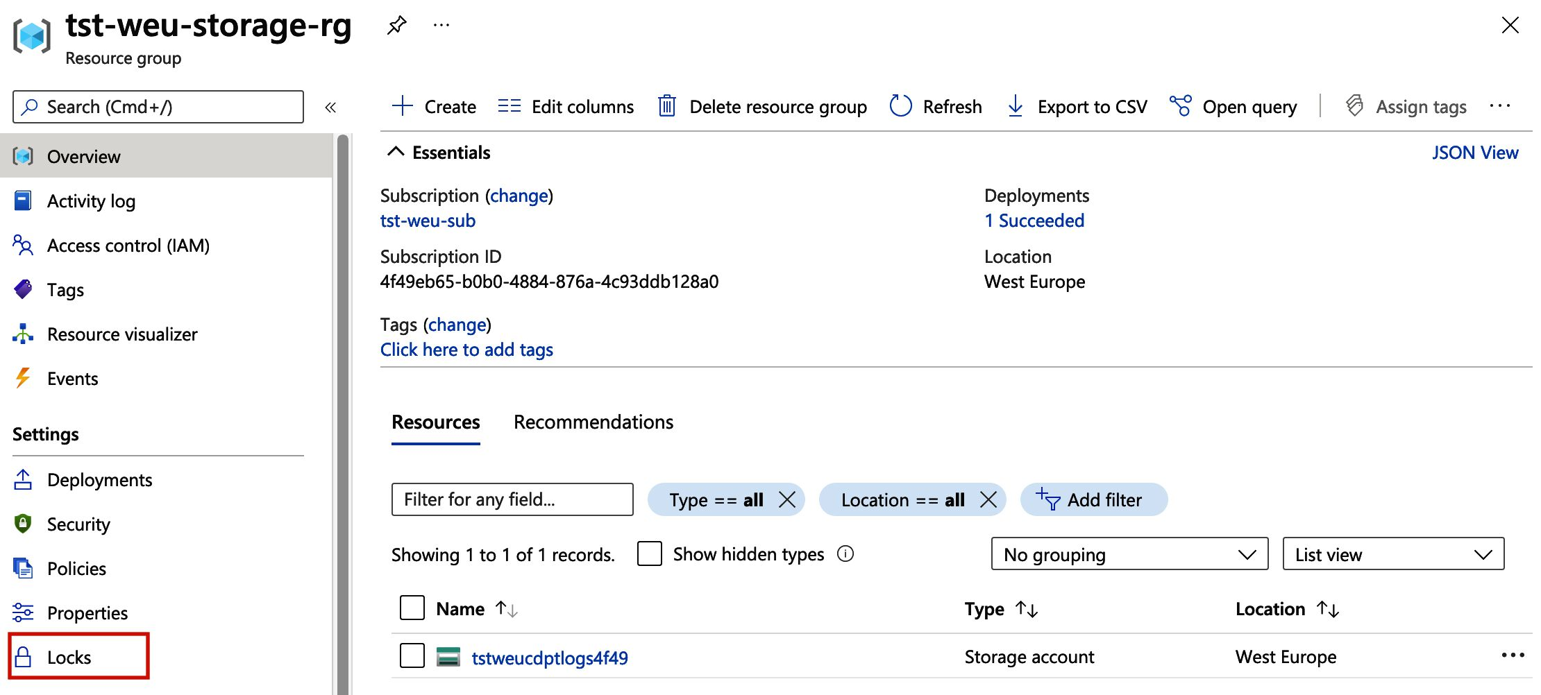 Image of the resource group view in the Azure Portal, the locks setting is highlighted.
