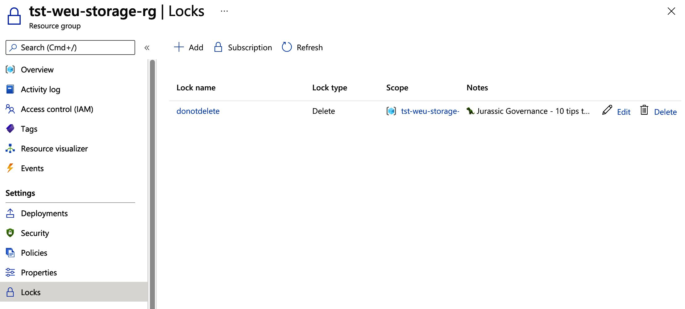Image of the resource group locks settings view in the Azure Portal, a do not delete entry has been added.