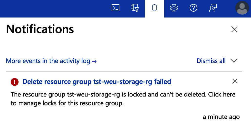 """Image of a notification toast, it reads: """"Delete resource group tst-weu-storage-rg failed. The resource group tst-weu-storage-rg is locked and can't be deleted. Click here to manage the locks for this resource group."""
