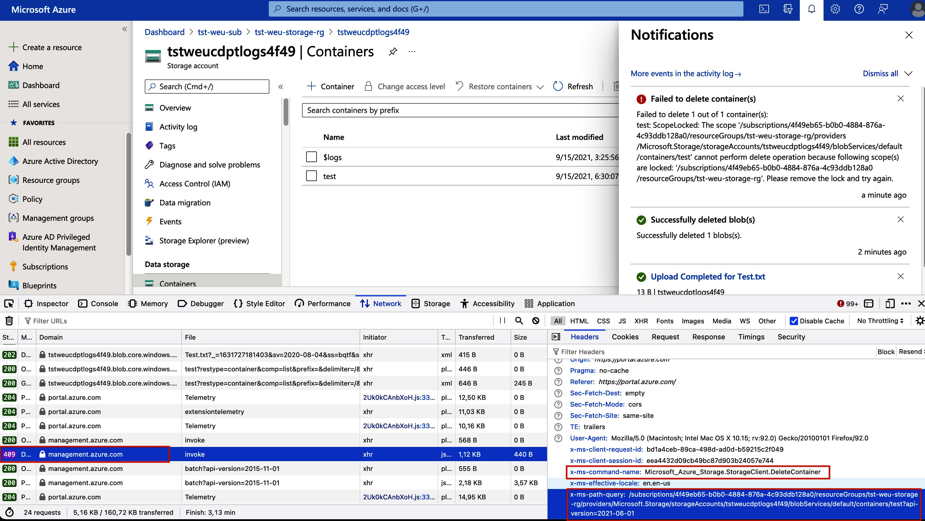 Image of the browser's development tools window, the networking tab is opened. There are is a delete request being sent to the control plane URL 'management.azure.com'. The request's header contains a key 'x-ms-command-name' with value 'Microsoft_Azure_Storage.StorageClient.DeleteContainer'. The request's header contains another key 'x-ms-path-query' with the full URI to the BLOB container as a value.